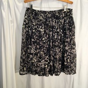 Calvin Klein Sz 12 Floral Skirt Full Pleated Lined